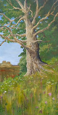 "A Place to Rest, 2020, acrylic, 48 x 24"" Acrylic painting of a large oak tree with trunk dominating the composition. In the distance are corn fields. In the foreground are wild flowers including Queen Anne's lace and red clover. The flowers are painted in a more drippy, simplified style than the rest of the painting."